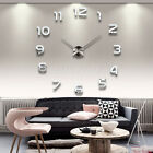 US Modern Silver 3D Mirror Surface Large Number Wall Clock Sticker Home Decor