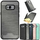 2 in1 TPU+PC Stand Brushed Card Skin Cover Case For Samsung S7 S8 A320 J320