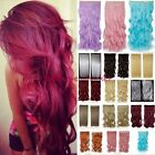light pink purple hair - Real Thick New Clip in on Hair Extensions Long Wave Curly Ombre Pink Purple Red