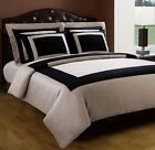 Hotel 5-PC Duvet Cover Set - Black/Taupe