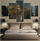 5 Pcs Mysterious Mountain Castle Waterfall Canvas Painting Wall Art Home Décor
