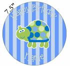 Blue Turtle Personalised Edible Icing Cake Topper Square Round Rect