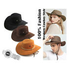New Men Shade Big Crow Hat Western Cowboy Hat Riding Camping Outdoor Leather Cap