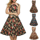 Women's Vintage Flower Skirts Sleeveless Pleated Big Swing Party Cocktail Dress