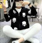 B64 Popular Badass Skulls Trend Black Fleece Punk Rock Fashion Hooded Zip Jacket