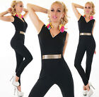 Lovely Party Jumpsuit Wedding V-Neck Overall Gold Belt Black Suit 8,10,12,14