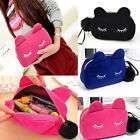 Cute Flannel Cosmetic Makeup Cartoon Cat Storage Bags Pen Pencil Pouch Cases