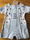 FREE P&P BLUE COTTON SAILOR ROMPER, NEWBORN, 0/3 3/6 MONTHS
