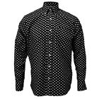 Relco Black Long Sleeve Button Down Mod 60's Shirt With White Polka Dots S - 3XL