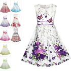 Flower Girls Kids Dress Purple Butterfly Sundress Formal Wedding Party Size 4-12