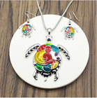 Fashion Colorful Turtle Pendant Necklace Earrings Jewelry Set Sliver/Gold Unisex