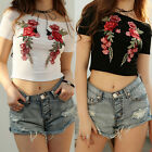 Summer Women Casual Slim Short Sleeve Embroidery Flower T-Shirt Blouse Crop Tops