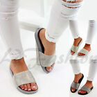 New Womens Slip On Sliders Flat Diamante Sandals Rubber Mule Comfy Shoes Sizes
