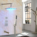 Thermostatic Shower Faucet 8''Rain LED Shower Head With Hand Shower Mixer Tap