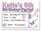 10 Personalised INVITATIONS & envelopes,  girls birthday BUTTERFLY butterflies