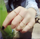 5PCS/SET 2SETS Women Sliver Gold Wave Rhinestones Midi Knuckle Finger Tail Rings