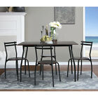 5PCS Dining Breakfast Furniture Dinning Kitchen Wood Metal Table Vintage Style