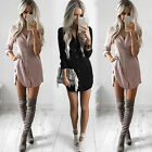 Women Lady Summer Long Sleeve Casual Blouse Loose Shirt Mini Dress.cc
