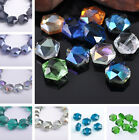 5pcs 16mm Hexagon Glass Crystal DIY Faceted Spacer Loose Beads Jewelry Findings