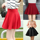 M~3XL Plus Vintage Stretch High Waist Plain Skater Flared Pleated Skirt Dress A1