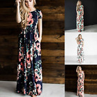 New UK Fashion Womens Summer Short Sleeve Floral Dress Casual Full Long Dresses