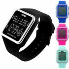 Men Women Digital Sport Waterproof Quartz Watch Square Silicone Strap Stopwatch