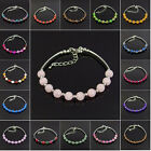 6mm agate jasper jade turquosie amethyst rose quartz beads adjustable bracelet