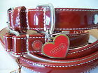 NEW RARE COACH SET RED PATENT LEATHER HEARTS BONES  SMALL DOG COLLAR LEASH S