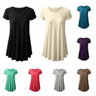 Women's Fashion Round Neck Solid Top Casual Loose Summer T-shirt Dress Dazzling