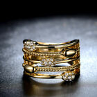 18k Yellow Gold Plated Crystal Hollowed Statement Ring Party jewelry R1054