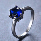 Classic Blue Sapphire Lady's White Gold Filled Ring Anniversary Jewelry Sz6-10