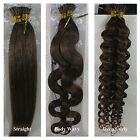 """18""""-32"""" Stick I Tip Human Hair Extensions Straight Wavy Curly #6 Medium Brown"""