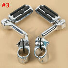 """Chrome 1.25"""" 32mm Long Angled Adjustable Highway Foot Pegs Peg Mount For Harley image"""