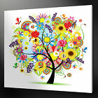 ABSTRACT COLOURFUL TREE FLOWERS WALL ART PICTURE CANVAS PRINT READY TO HANG