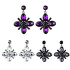 3.7CM Oval Crystal Round Gem Joint Pendant Dangle Flower Earrings Lady Jewellery