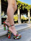 Open Toe Platform Embroidered Ankle Strap High Heel Chunky Block Shoes Sandals, used for sale  Shipping to Nigeria