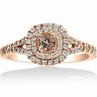 1ct Cushion Double Halo Morganite & Diamond Engagement Ring 14k Rose Gold