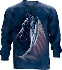 Patriotic Horse Head Adult Longsleeve Top The Mountain