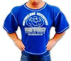 Mens Blue Team Ironworks Bodybuilding Clothing Workout Top Gym Clothes Rag Top