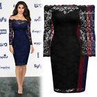 Womens Vintage Lace Evening Cocktail Party Business Off Shoulder OL Pencil Dress