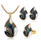 Antique Silver/Gold Drip Rhinestone Luxurious Necklace Earrings Ring Jewelry Set