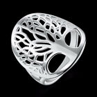 Chic 925 Silver Stamp Hollow Rings The tree of Life Band Rings For Women S: 6-9
