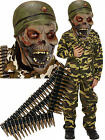 Zombie Halloween Army Boys Soldier Fancy Dress Costume Outfit Mask + Bullet Belt