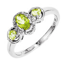925 Sterling Silver Peridot and Diamond Oval Cut Ring - 0.77cttw