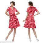 Red Polka Dot Printed Dress Woman Elegant Big Hem Party Dress with Belt