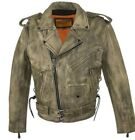 MEN'S CLASSIC TERMINATOR STYLE MEN'S BUTTER SOFT COW LEATHER JACKET W/SIDE LACES