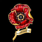 Luxury Enamel Black Crystal Flower Poppy Brooch Pins Banquet Badge Remembrance