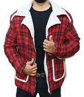 Mens Dead Pool Ryan Reynolds Red Shearling Fur Jacket Coat for Men - XXS-5XL $89.0 USD on eBay