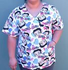 BETTY BOOP Medical Scrub Top Nurse Vet V NECK WITH POCKETS S M L XL $24.67 CAD on eBay