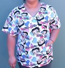 BETTY BOOP Medical Scrub Top Nurse Vet V NECK WITH POCKETS S M L XL $25.95 AUD on eBay